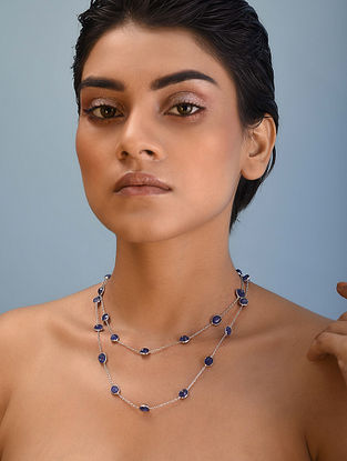 Classic Silver Necklace with Sapphire