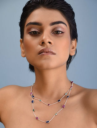 Classic Silver Necklace with Ruby Sapphire
