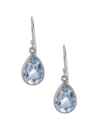 Classic Silver Earrings with Aquamarine