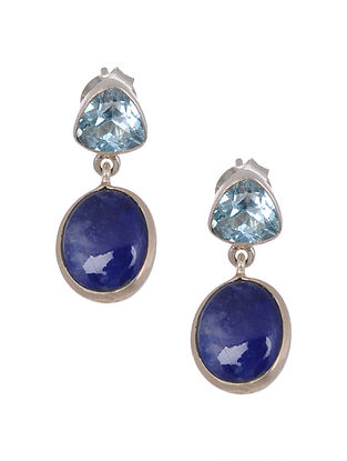 Classic Silver Earrings with Sapphire