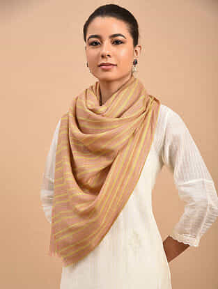 Yellow-Beige Handwoven Pashmina Stole