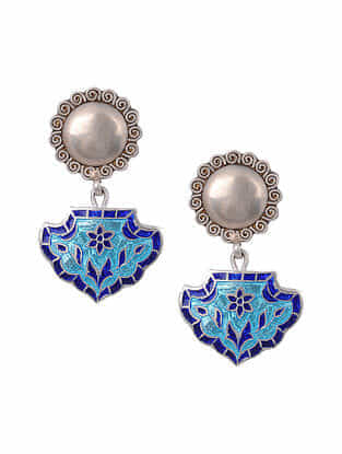 Blue Enameled Tribal Silver Earrings