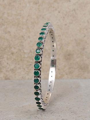 Green Silver Bangle (Size: 2/4)