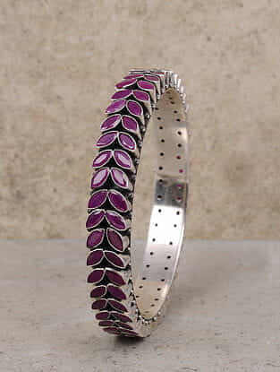 Maroon Silver Bangle (Size: 2/6)