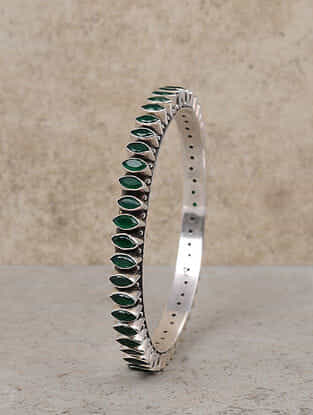 Green Silver Bangle (Size: 2/6)
