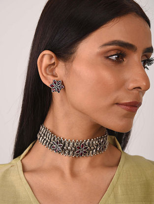 Maroon Silver Tone Tribal Necklace With Earrings