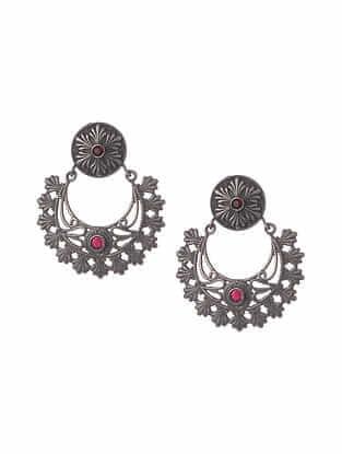 Red Silver Tone Tribal Chandbali Earrings