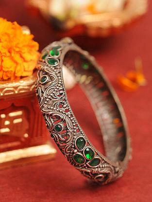 Green Silver Tone Tribal Bangle