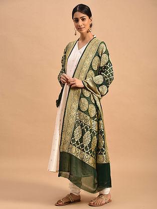 Green Handwoven Bandhani Georgette Dupatta