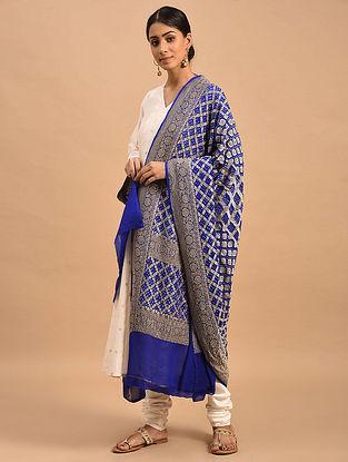 Blue Handwoven Bandhani Georgette Dupatta
