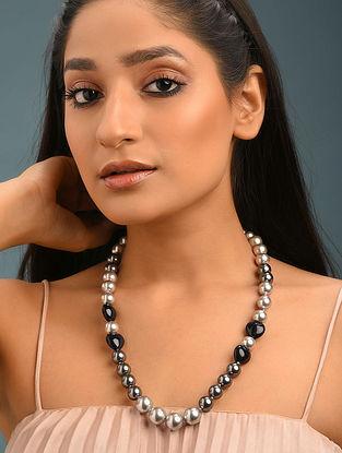 Grey Swarovski Pearls And Sunstone Beaded Necklace