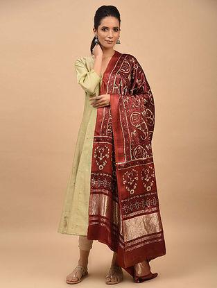 Red Ajrakh Printed Modal Silk Dupatta