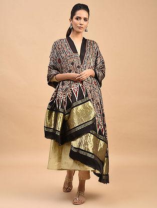 Black-Rust Ajrakh Printed Modal Silk Dupatta