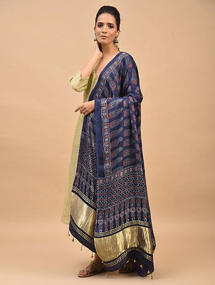 Blue-Red Ajrakh Printed Modal Silk Dupatta