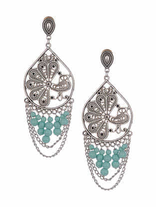 Turquoise Silver Tone Handcrafted Earrings