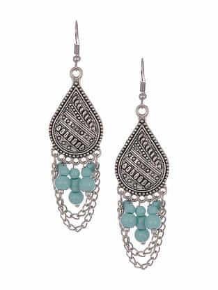 Turquoise Silver Tone Tribal Earrings