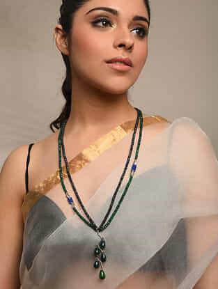 Green Black Agate Beaded Tribal Silver Necklace