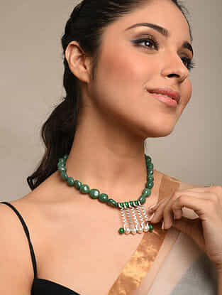 Green Onyx Beaded Tribal Silver Necklace