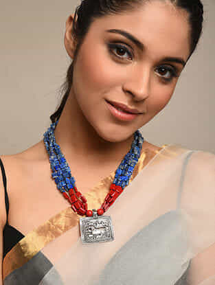 Blue Red Lapiz Beaded Tribal Silver Necklace
