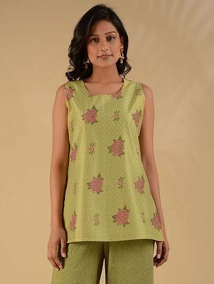 Adwitiya Lime Green Block Printed Chanderi Kurta