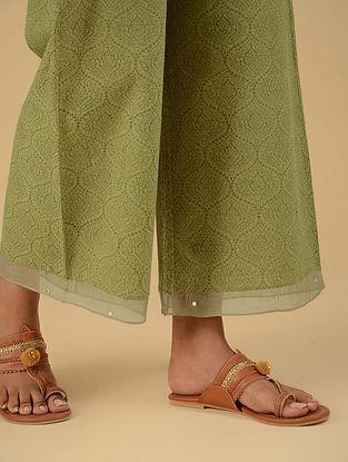 Abhisarika Sage Green Block Printed Cotton Ijar with Mirror Work