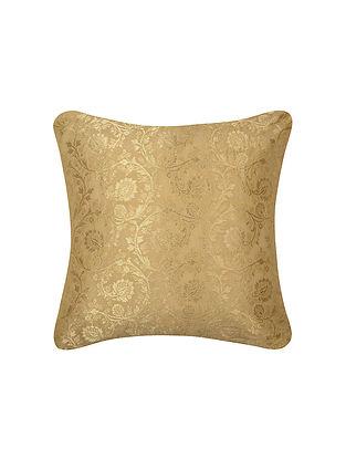 Golden Beige Floral Jaal Brocade Silk Cushion Cover  (16in x 16in)