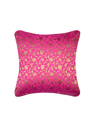 Fuschia Pink Floral Jaal  Brocade Silk Cushion Cover  (16in x 16in)
