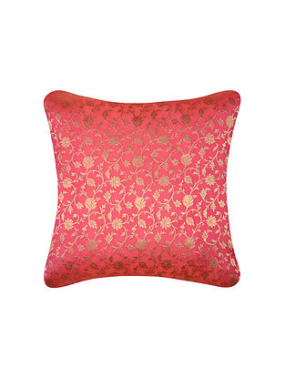 Coral Pink Floral Jaal Brocade Silk Cushion Cover  (16in x 16in)