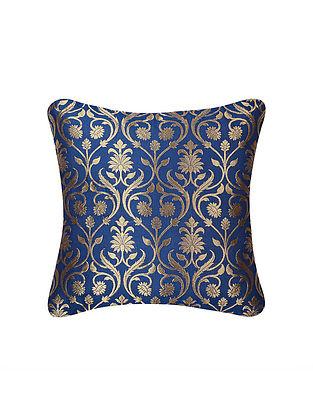 Deep Blue Lotus Jaal Brocade Silk Cushion Cover  (16in x 16in)
