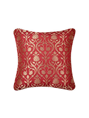 Ruby Red Lotus Jaal Brocade Silk Cushion Cover  (16in x 16in)
