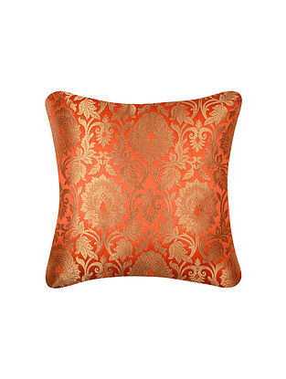 Vermillion Gold Anaar Jaal Brocade Silk Cushion Cover  (16in x 16in)