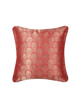 Red Lotus Jaal Dense Brocade Silk Cushion Cover  (16in x 16in)