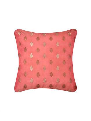 Coral Peach Two Tone Boota Brocade Silk Cushion Cover  (16in x 16in)