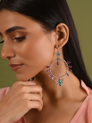 Maroon Green Tribal Silver Earrings