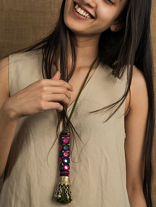 Multicolored Silver Tone Tribal Vintage Necklace