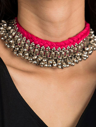 Pink Silver Tone Tribal Vintage Necklace