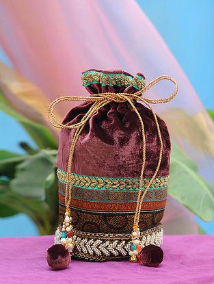 Maroon Hand Embroidered Velvet Potli