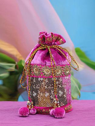 Pink Hand Embroidered Velvet Potli