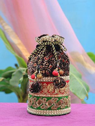 Multicolored Embroidered Velvet Potli