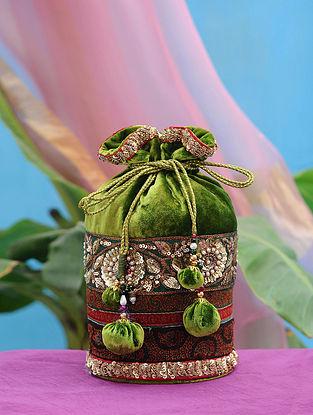 Olive Green Hand Embroidered Velvet Potli