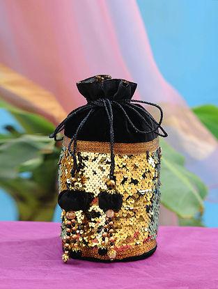 Black Gold Hand Embroidered Velvet Potli