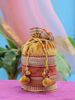 Mustard Hand Embroidered Velvet Potli