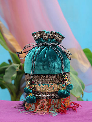 Sea Green Hand Embroidered Velvet Potli