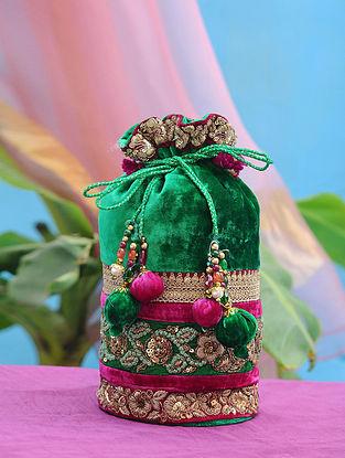 Emerald Green Hand Embroidered Velvet Potli