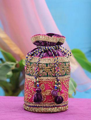 Purple Pink Hand Embroidered Velvet Potli