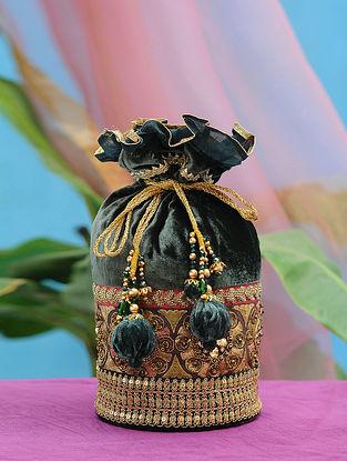 Green Gold Hand Embroidered Velvet Potli