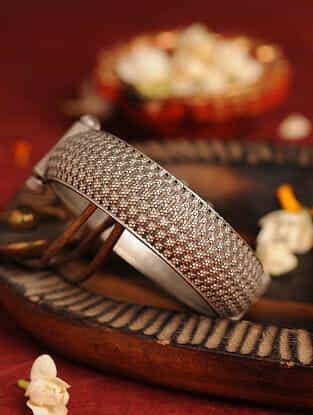 Silver Tone Tribal Bangle (Bangle Size- 2/6)