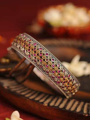 Pink Dual Tone Tribal Bangle (Bangle Size- 2/4)