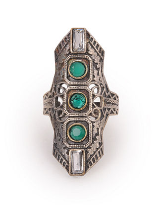 Green Silver Tone Tribal Adjustable Ring
