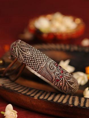 Red Silver Tone Tribal Bangle